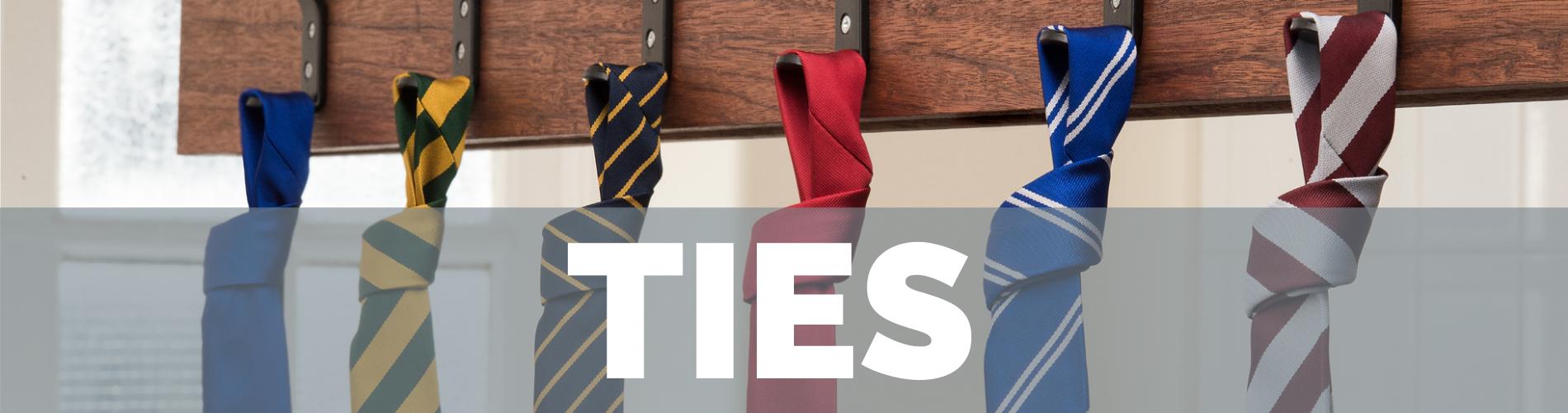 Ties banner images showing School Trends Ties on hooks