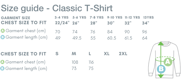 Size Guide - Classic T Shirt
